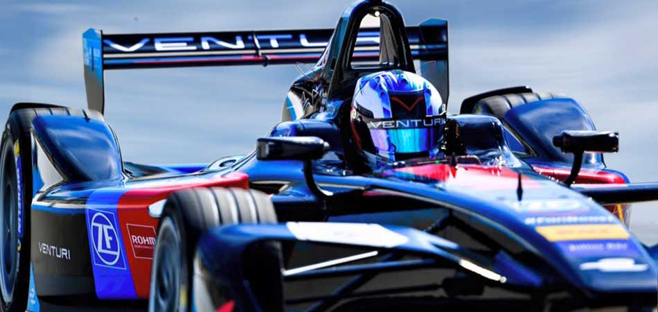 Formula E Venturi race car with ZF motorsport technology on the racetrack.