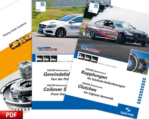 ZF Motorsport and SACHS Performance catalogues for the Performance clutch, suspension and racing clutches.