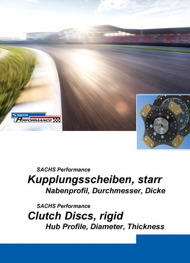 SACHS Performance clutch discs, rigid design, information about hub profiles, diameter and thickness.