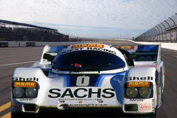Porsche 962 IMSA GTP with SACHS clutch on the racetrack.