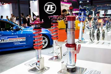 ZF Motorsport exhibition stand with clutch and shock absorber.