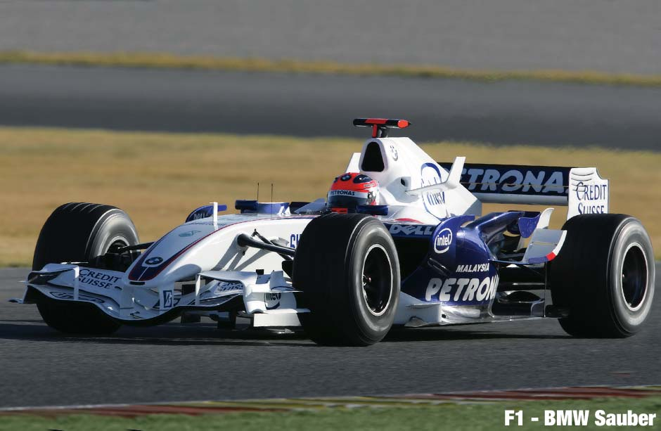 BMW Sauber Formula 1 racing car with SACHS rotational shock absorber.