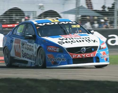 Volvo S60 on the racetrack with SACHS clutch in the V8 Supercars touring car race series.